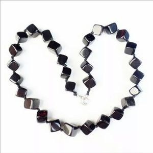Black Agate Cubic Handwoven Necklace